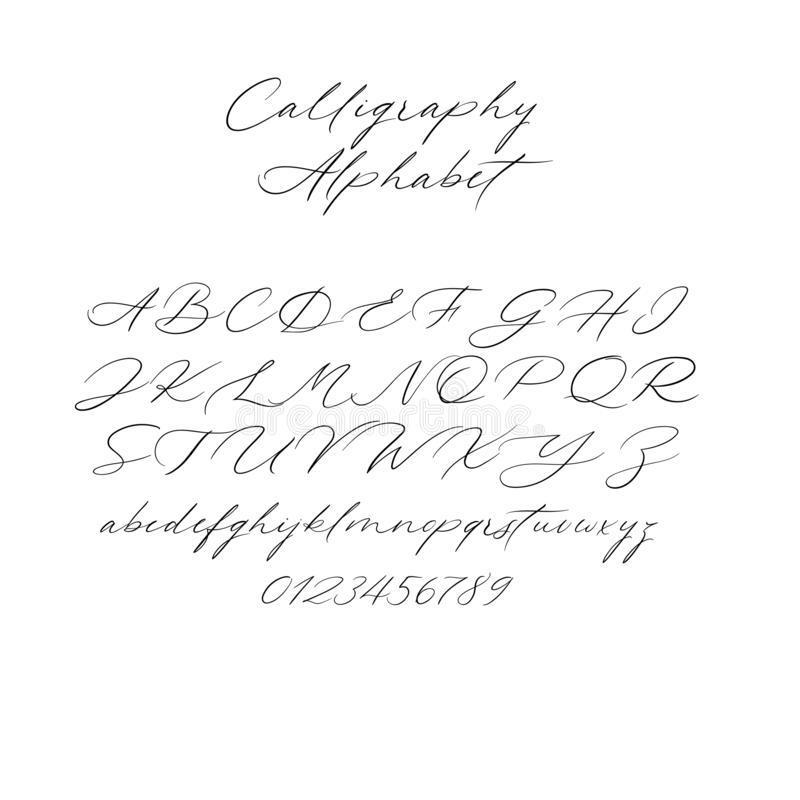 Alfabeto de la caligrafía del vector Letras exclusivas Fuente manuscrita decorativa del cepillo para casarse el monograma, logoti ilustración del vector