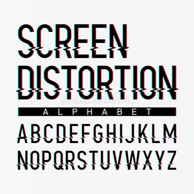Alfabeto de la distorsión de la pantalla stock de ilustración