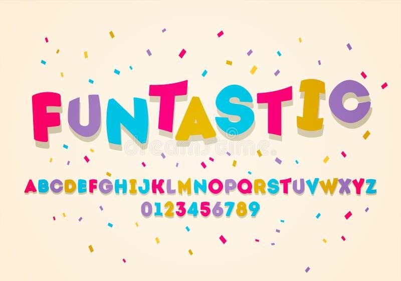 Alfabeto de la exhibición del mayúscula de la diversión del vector Fuente colorida de los niños stock de ilustración
