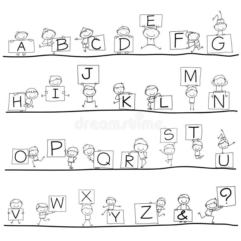 Alfabeto de la felicidad de la historieta del dibujo de la mano ilustración del vector