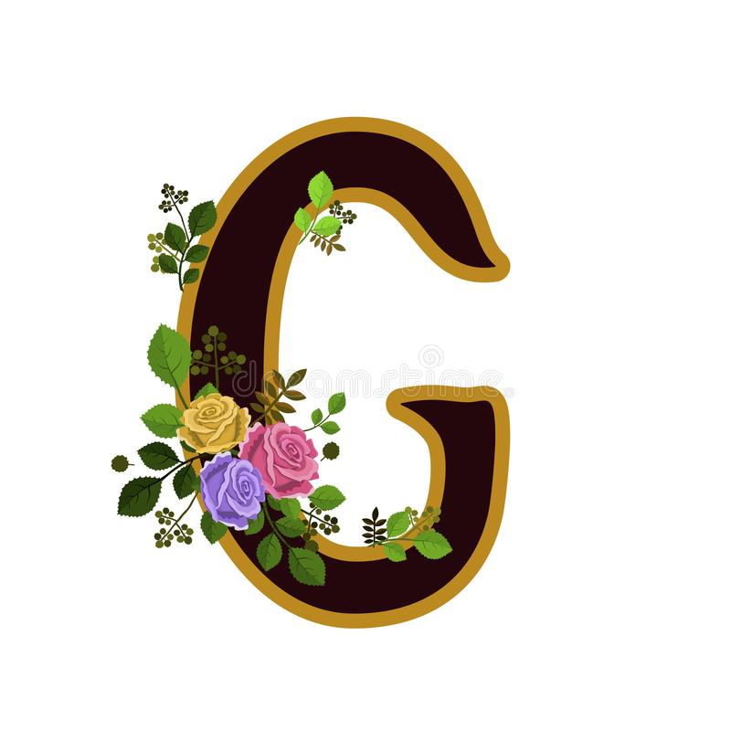 Alfabeto De La Flor Letra G Adornado Con Las Rosas Y Las Hojas ...