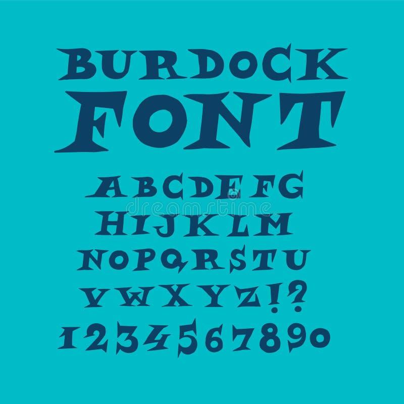 Alfabeto de la fuente moderna inglesa de la diversión Vector Un conjunto completo de letras espinosas Gr?fico a pulso Fuente del  libre illustration