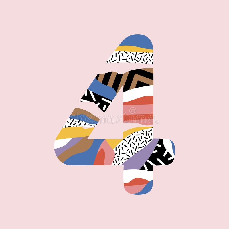 Alfabeto de la fuente de vector del número 4, diseño plano dinámico moderno libre illustration