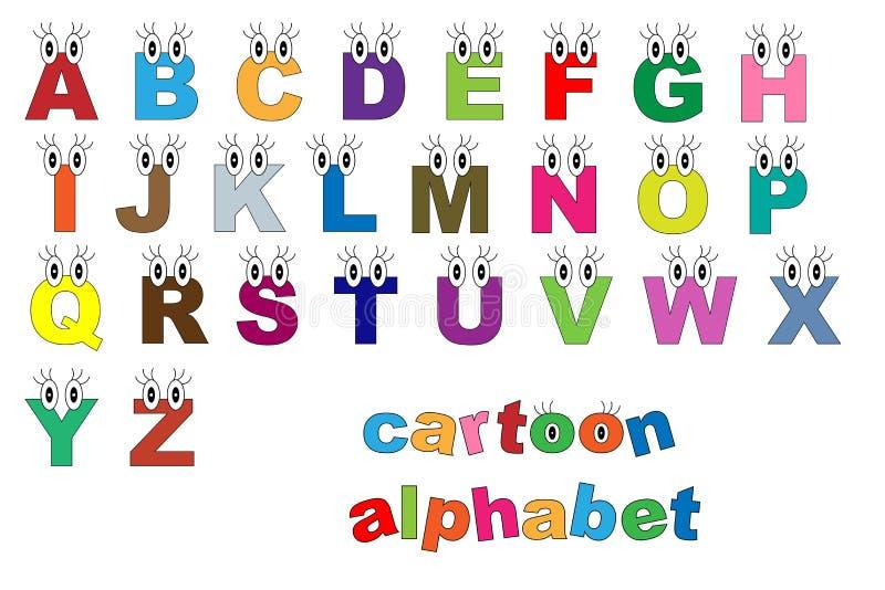 Alfabeto de la historieta ilustración del vector