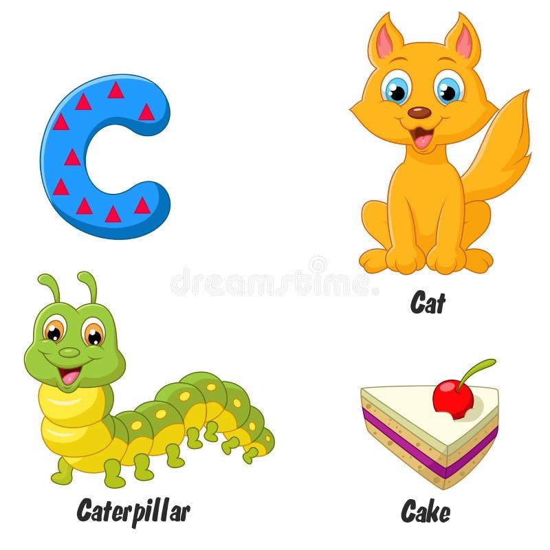 Alfabeto de la historieta C stock de ilustración