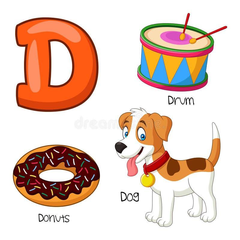 Alfabeto de la historieta D stock de ilustración