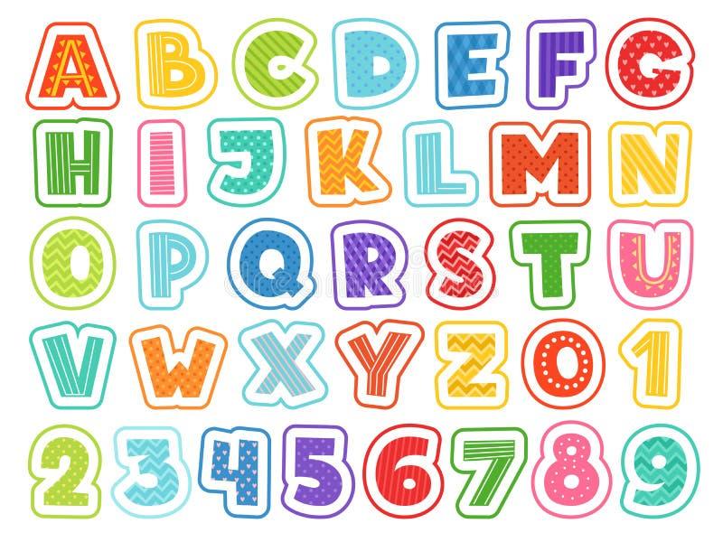 Alfabeto de la historieta Muestras y símbolos coloreados lindos de números de las letras para la fuente divertida del vector de l ilustración del vector