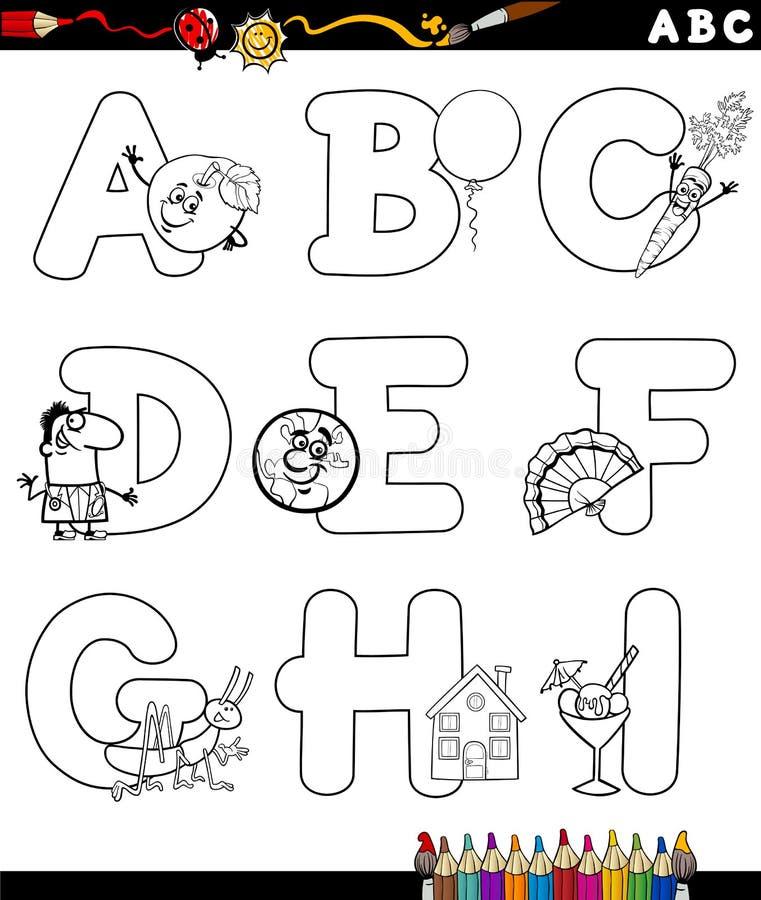 Alfabeto de la historieta para el libro de colorear stock de ilustración