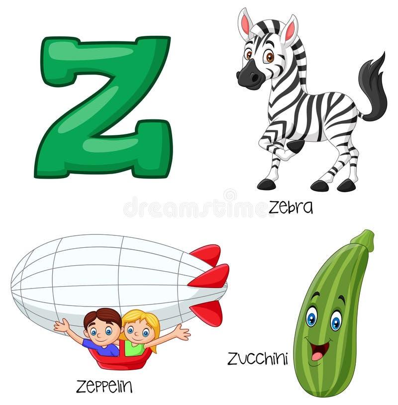 Alfabeto de la historieta Z ilustración del vector