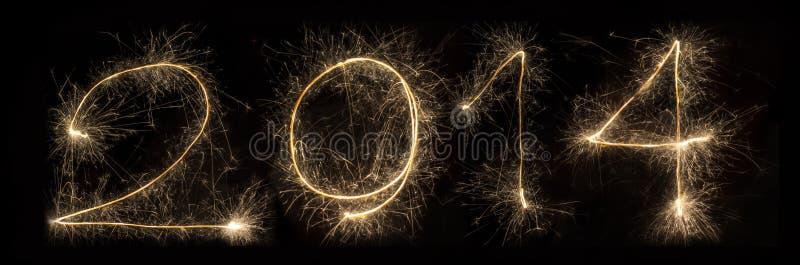 Alfabeto 2014 de la luz del fuego artificial de la bengala foto de archivo