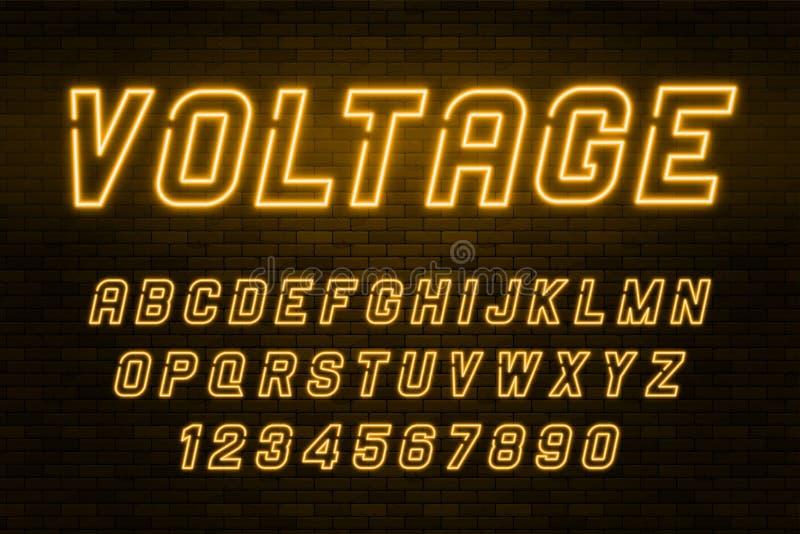 Alfabeto de la luz de neón del voltaje, fuente que brilla intensamente adicional realista ilustración del vector