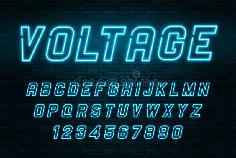 Alfabeto de la luz de neón del voltaje, fuente que brilla intensamente adicional realista stock de ilustración