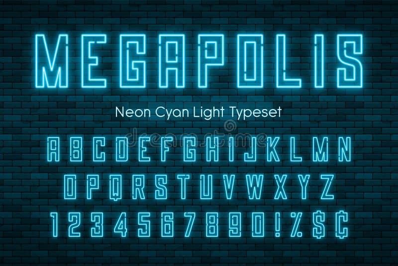 Alfabeto de la luz de neón de Megapolis, fuente que brilla intensamente adicional realista ilustración del vector