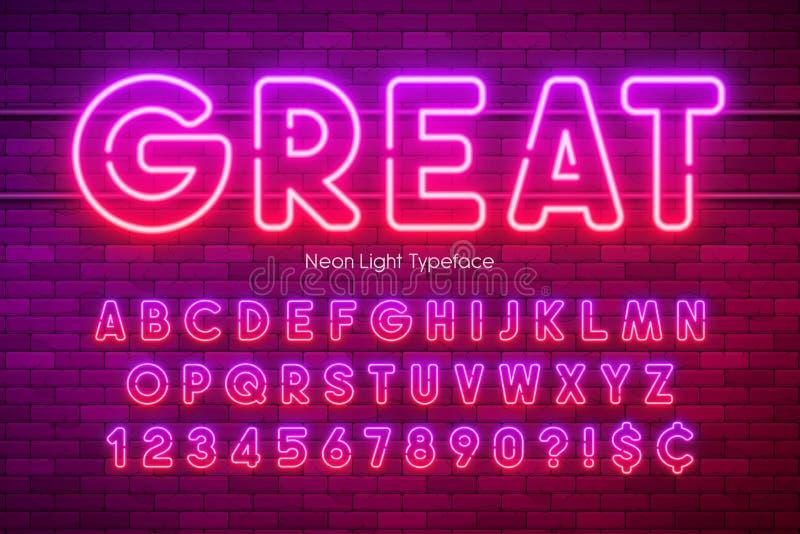Alfabeto de la luz de ne?n, fuente que brilla intensamente adicional multicolora ilustración del vector