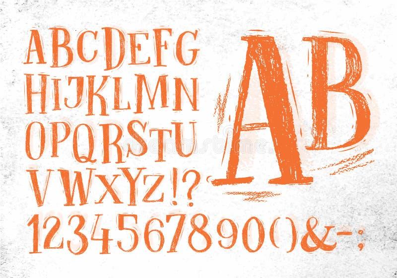 Alfabeto de la naranja de la fuente del lápiz stock de ilustración
