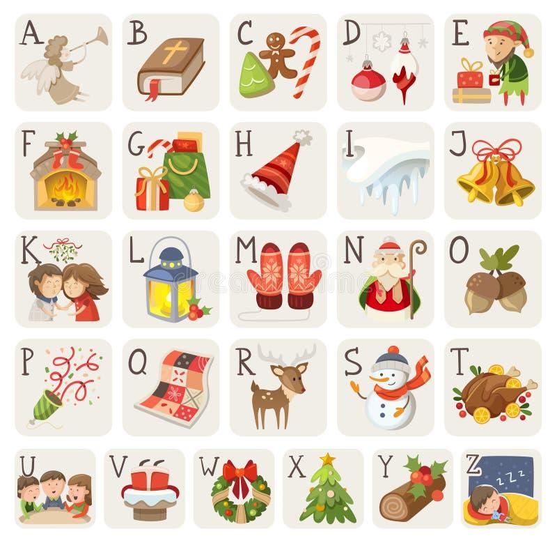 Alfabeto de la Navidad ilustración del vector