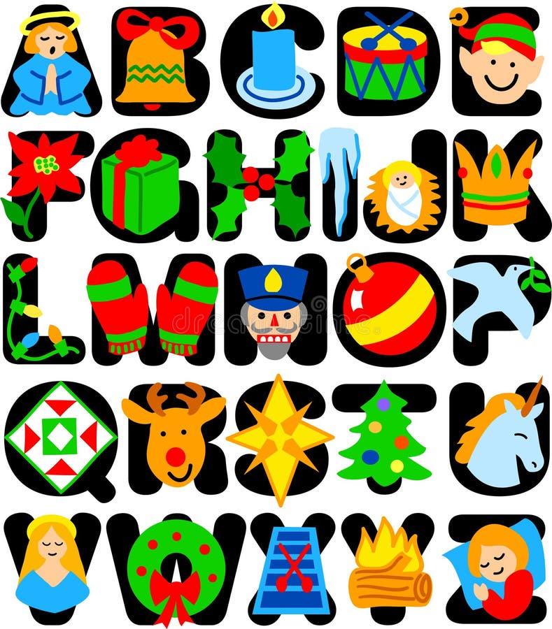 Alfabeto de la Navidad stock de ilustración
