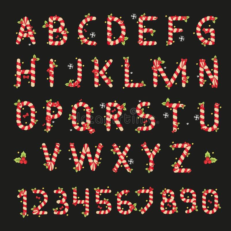 Alfabeto de la Navidad de los caramelos rojos y blancos ilustración del vector