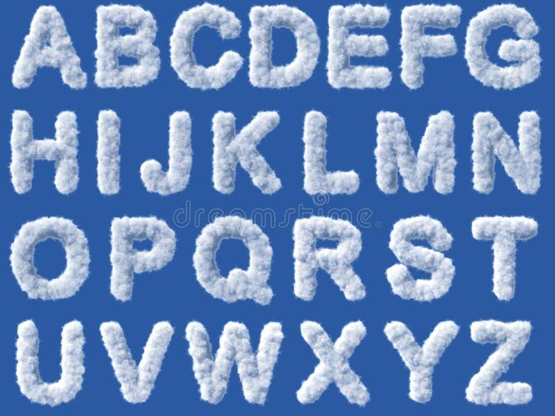 Alfabeto de la nube en el fondo blanco stock de ilustración