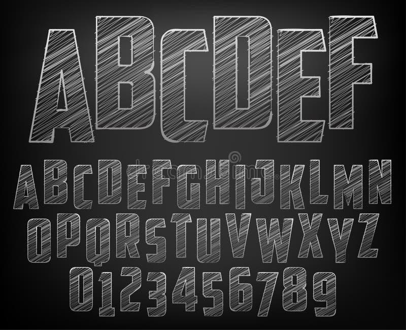 Alfabeto de la tiza ilustración del vector