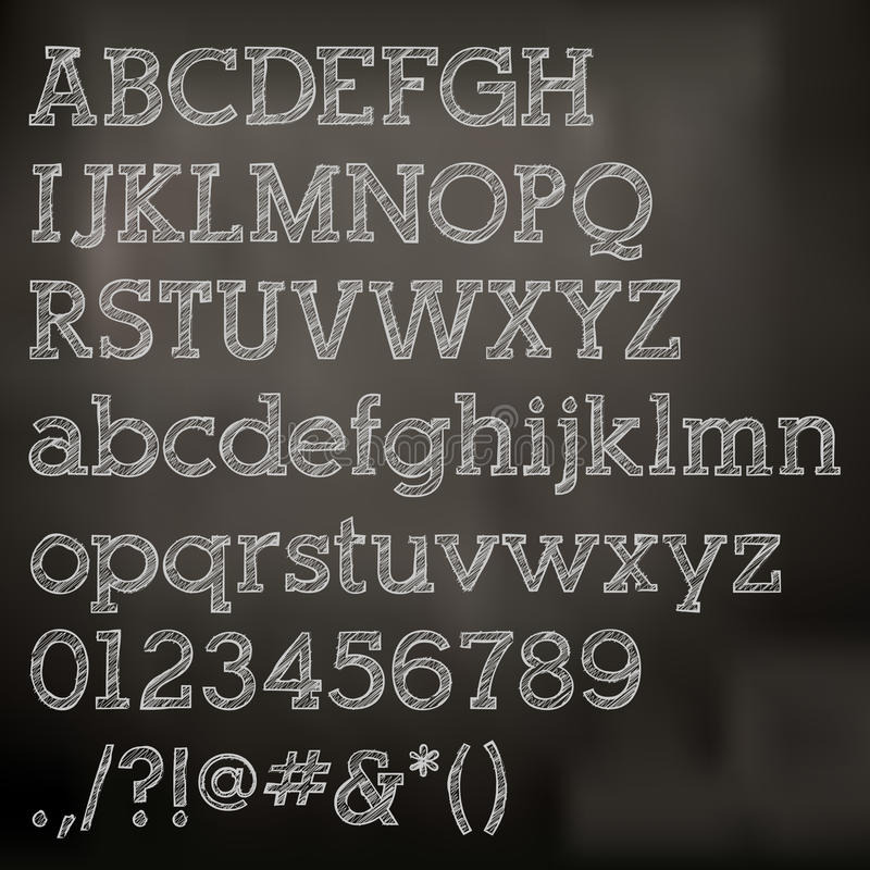 Alfabeto de la tiza del vector en la pizarra libre illustration