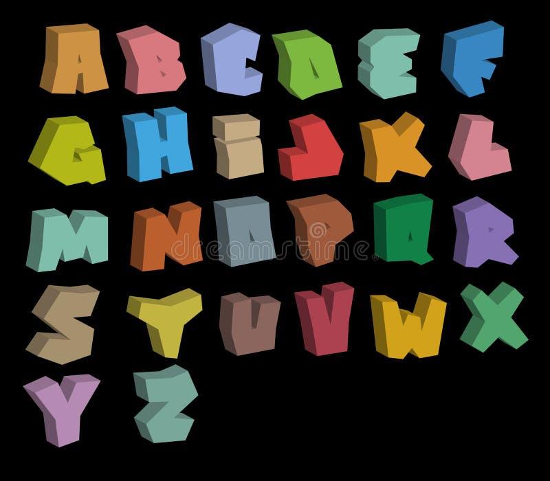 alfabeto de las fuentes del color de la pintada 3D sobre negro libre illustration