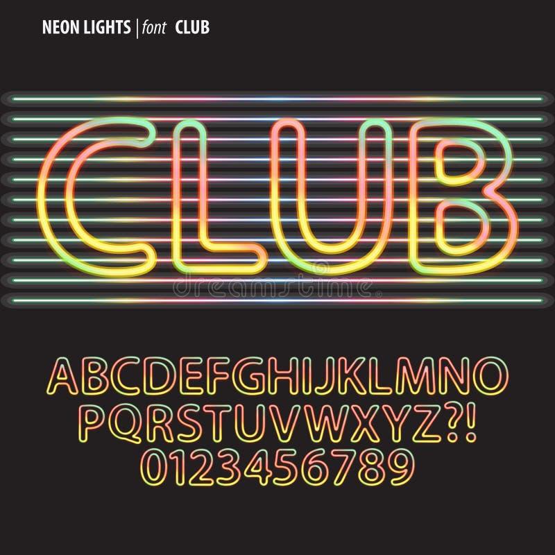 Alfabeto de las luces de neón y vector coloridos del dígito libre illustration