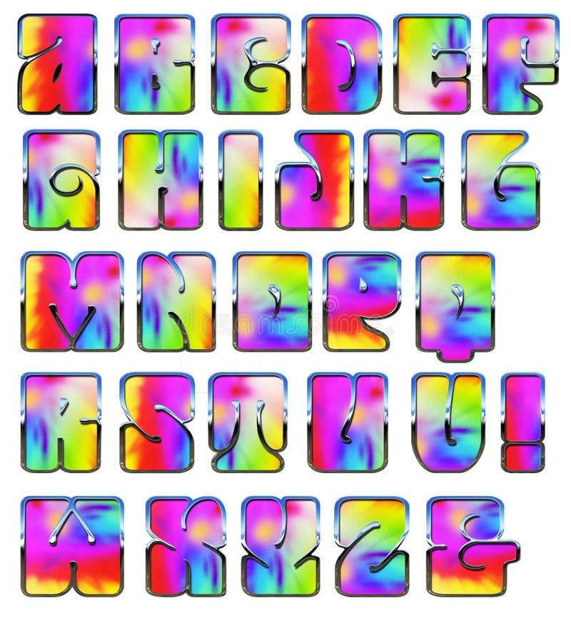 Alfabeto de los años 70 de los años 60 del teñido anudado stock de ilustración