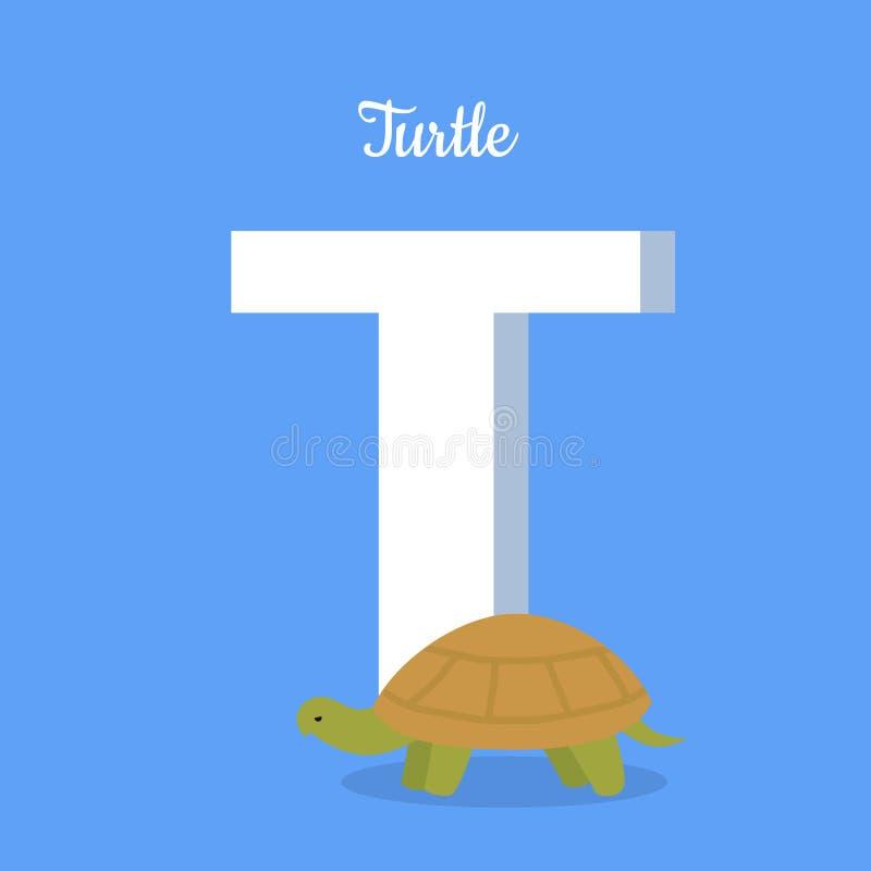 Alfabeto de los animales Letra - T ilustración del vector