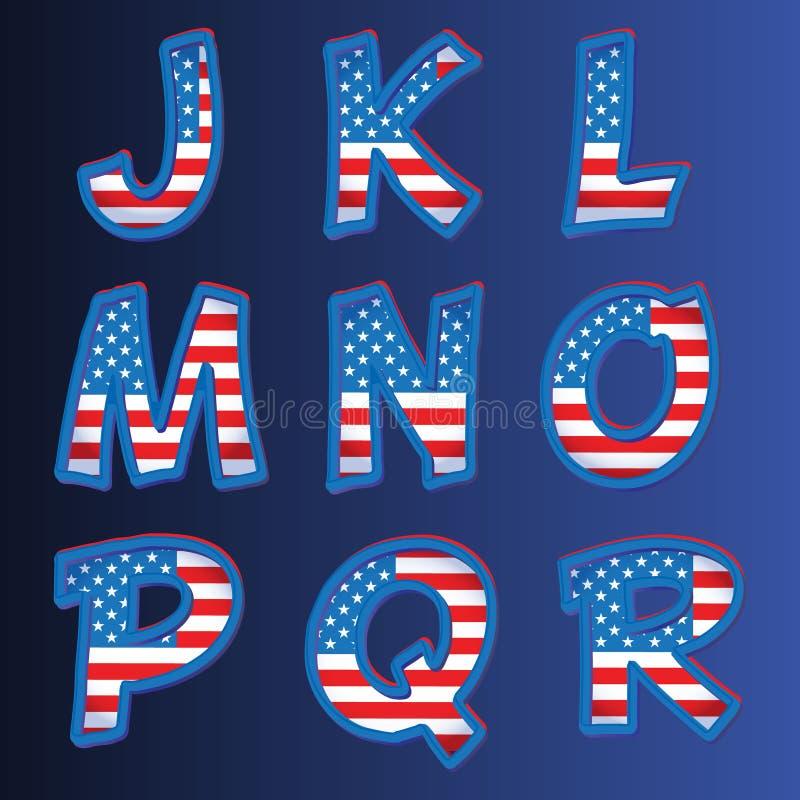 Alfabeto de los E.E.U.U. en un fondo azul ilustración del vector