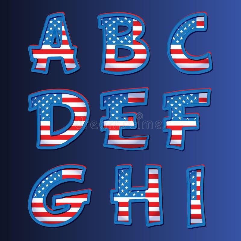 Alfabeto de los E.E.U.U. en un fondo azul libre illustration