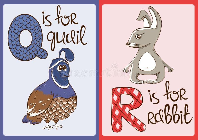 Alfabeto de los niños con los animales divertidos codornices y conejo stock de ilustración