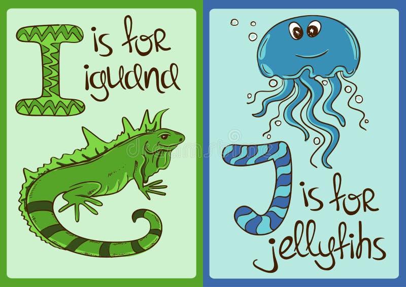 Alfabeto de los niños con los animales divertidos iguana y medusas ilustración del vector