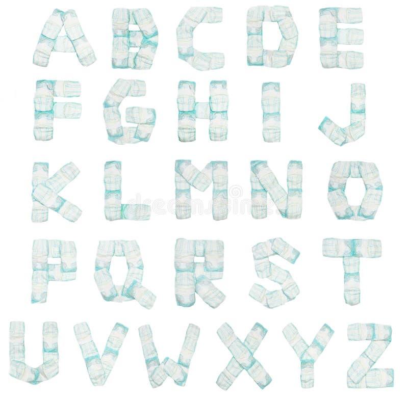 Alfabeto de los pañales del bebé en un fondo blanco, aislante, ABC, fondo imágenes de archivo libres de regalías