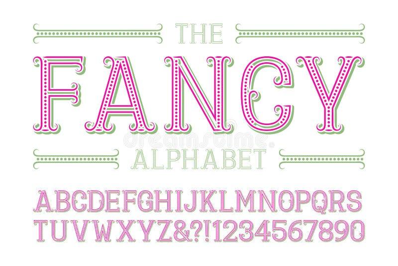 Alfabeto de lujo con números en estilo festivo de moda libre illustration