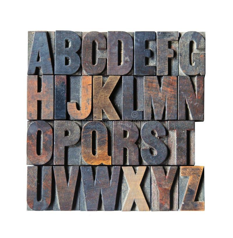 Alfabeto de madeira imagens de stock