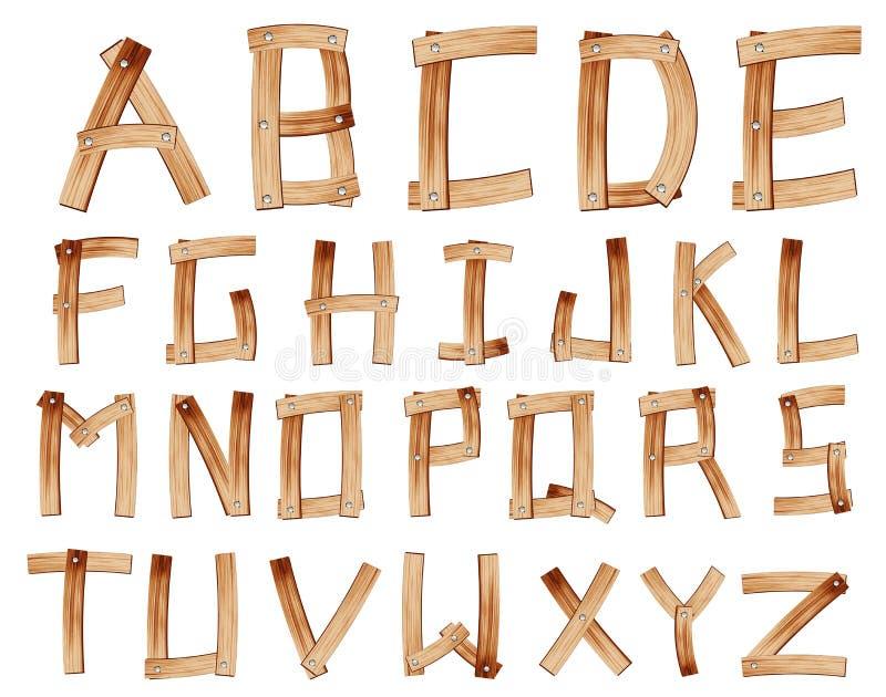 Alfabeto de madeira do vetor ilustração royalty free