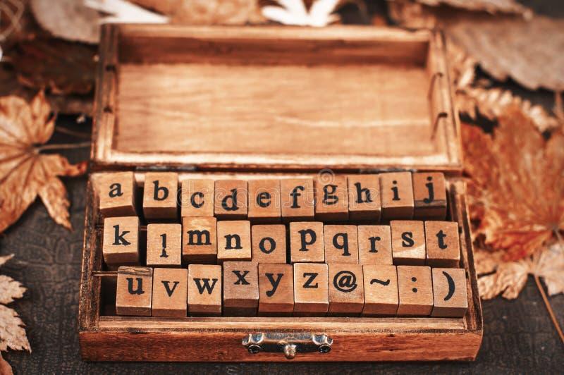 Alfabeto de madeira dos selos imagem de stock