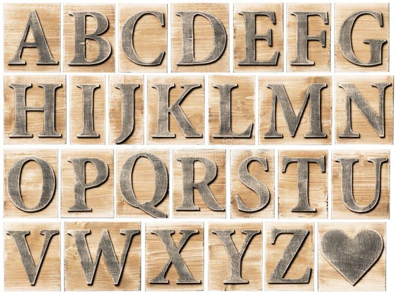 Alfabeto de madera imágenes de archivo libres de regalías
