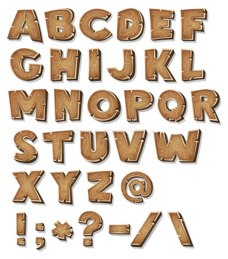 Alfabeto de madera cómico stock de ilustración