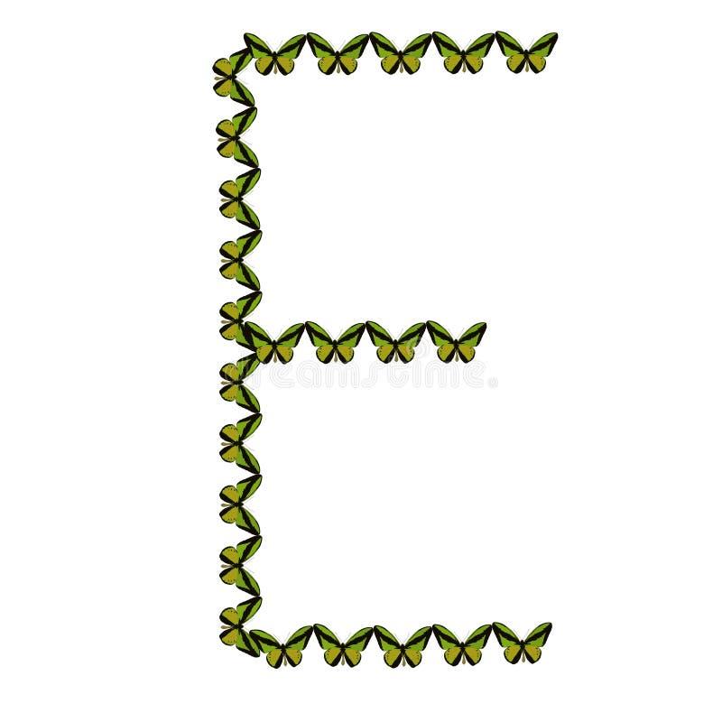 Alfabeto de mariposas, ` del ` E de la letra fotografía de archivo libre de regalías