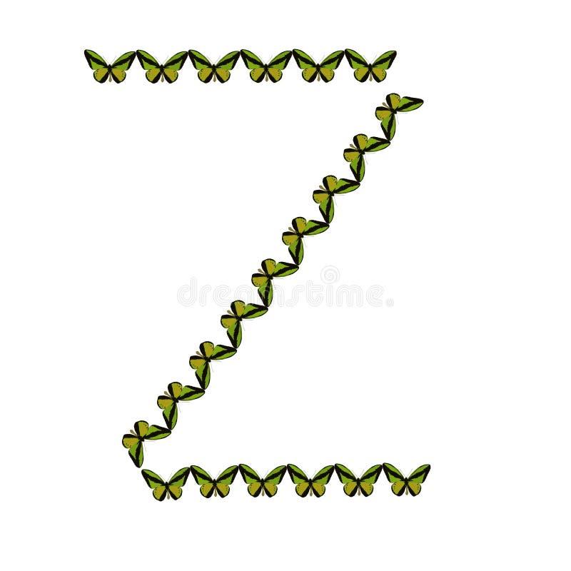 Alfabeto de mariposas, ` del ` Z de la letra foto de archivo libre de regalías