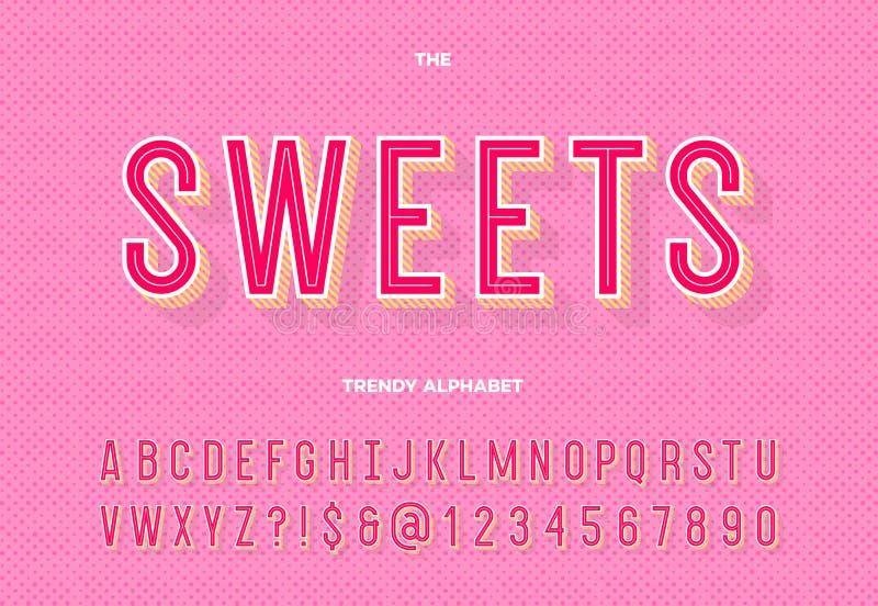 Alfabeto de moda de los dulces libre illustration