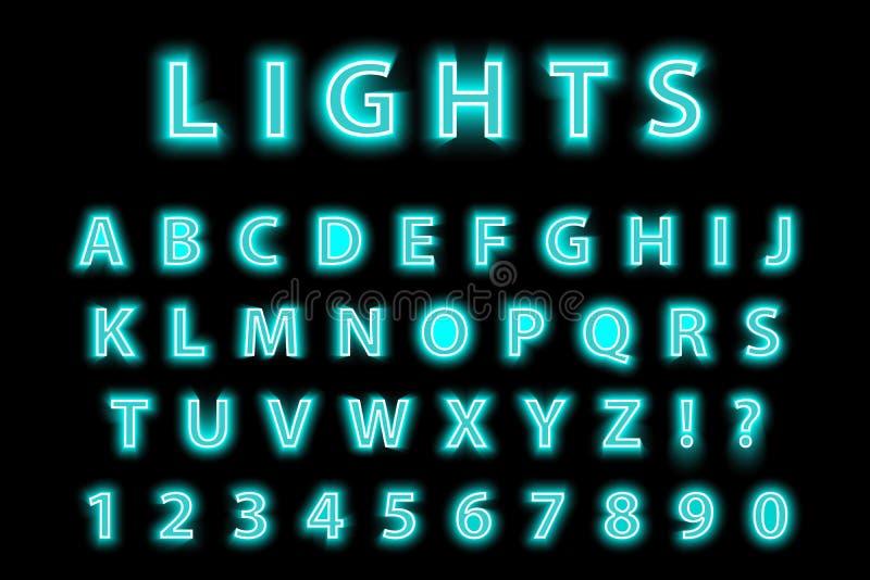 Alfabeto de néon azul na moda moderno em um fundo preto Fonte de incandescência das letras do diodo emissor de luz Número lumines ilustração do vetor