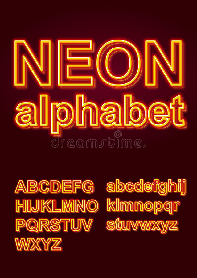 Alfabeto de néon de incandescência para o cartaz ou a brochura ilustração do vetor