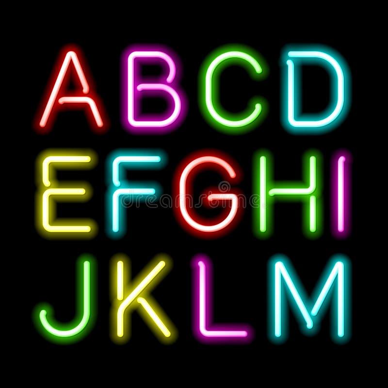 Alfabeto de néon do fulgor ilustração royalty free