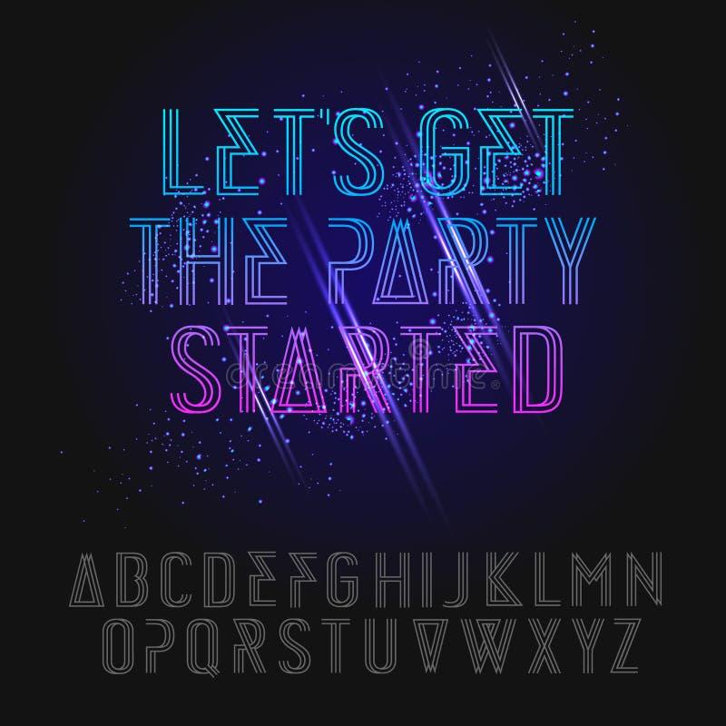 Alfabeto de néon do partido ilustração do vetor