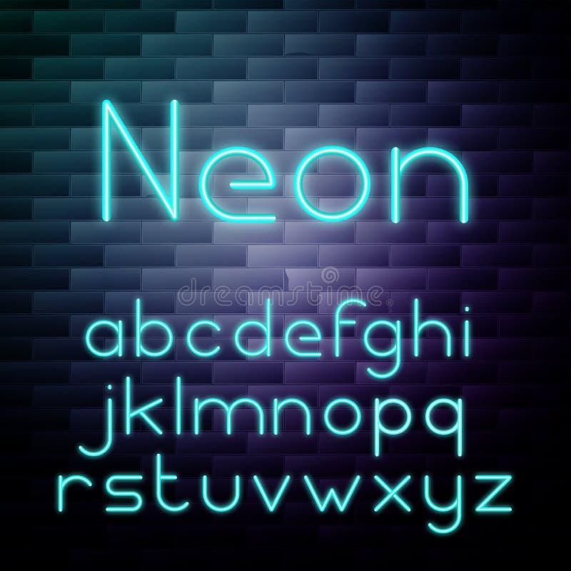Alfabeto de néon de incandescência ilustração do vetor