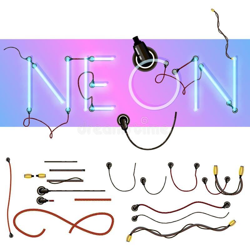 Alfabeto de néon realístico Pia batismal de incandescência Formato do vetor ilustração stock