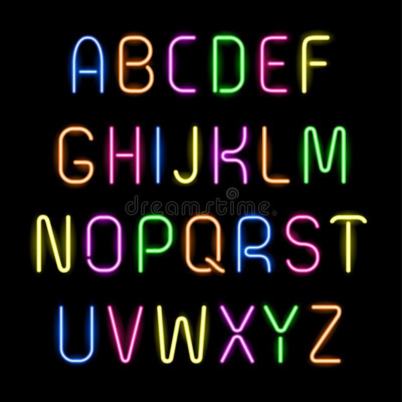 Alfabeto de neón libre illustration